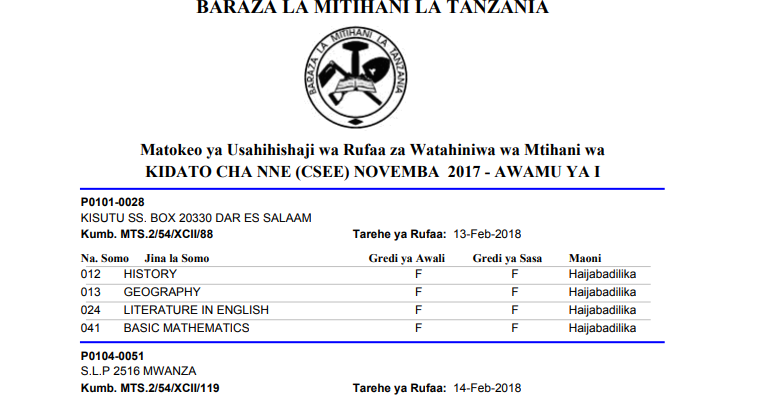 Mathematics Past Papers necta Form two Tanzania