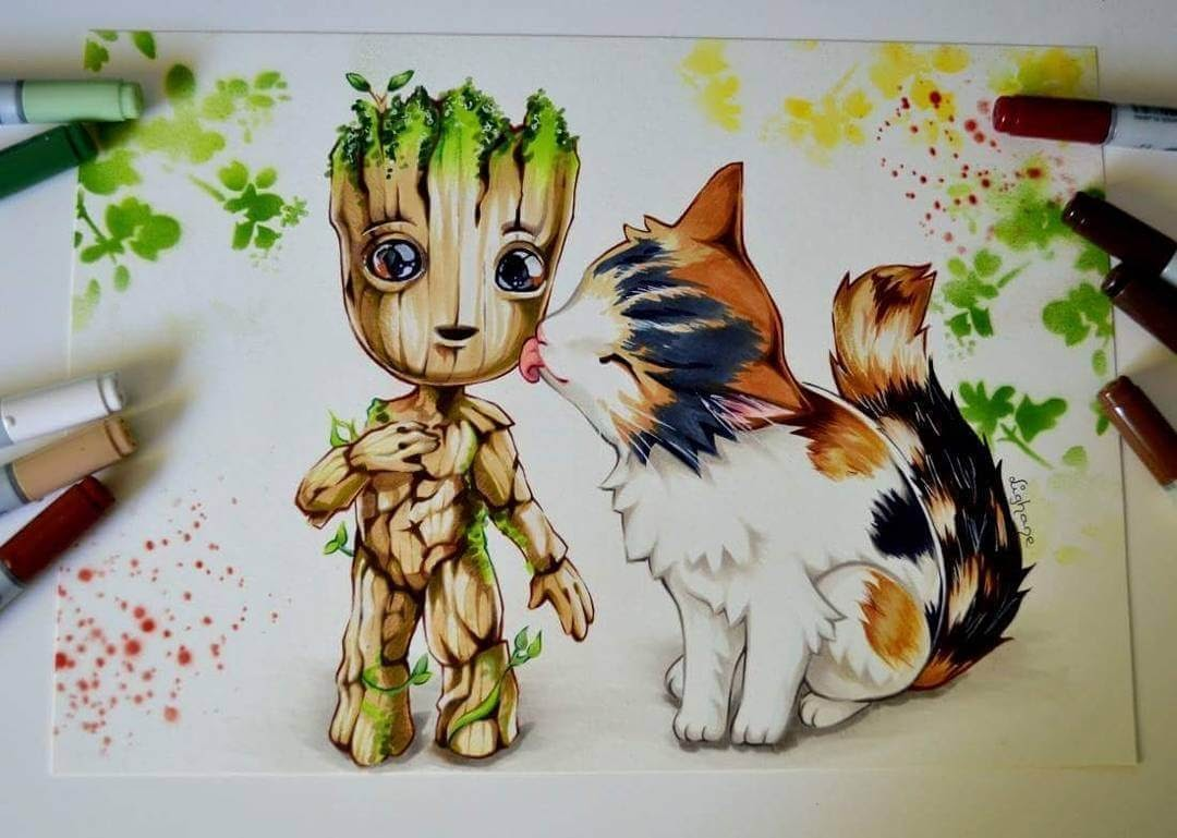 05-Baby-Groot-and-the-Cat-Lisa-Saukel-lighane-Cute-Colored-Fantasy-Animal-Drawings-www-designstack-co