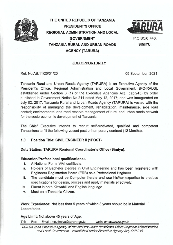 Job Vacancy at TARURA - Civil Engineer II