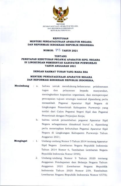 Formasi CPNS dan PPPK Kabupaten Purworejo Provinsi Jawa Tengah