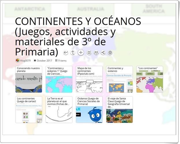 """""""9 Juegos, actividades y materiales para el estudio de CONTINENTES Y OCÉANOS en 3º de Primaria"""""""