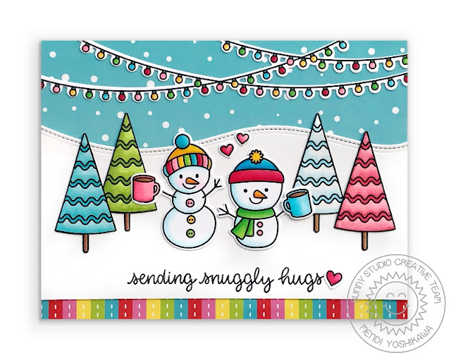 Sunny Studio Stamps: Feeling Frosty Sending Snuggly Hugs Snowman with rainbow Christmas trees Holiday Card (using Very Merry Paper & Woodland Border Dies)