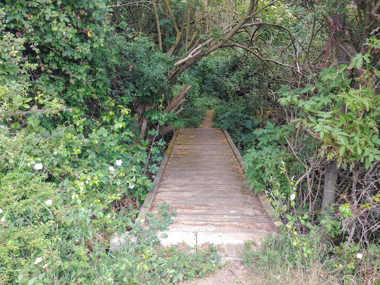 The footpath and footbridge leading to the woods, mentioned in point 12 above Image by Hertfordshire Walker released via Creative Commons BY-NC-SA 4.0