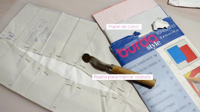 Materiales para marcar costuras sobre tela con papel de calco y ruleta