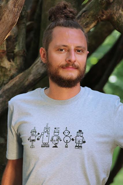 T-Shirt mit Robotern, Siebdruck