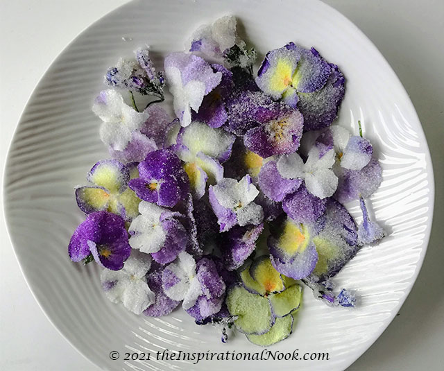 Edible cake flowers, candied flowers, sugar flowers for cakes, cupcake topper, candied pansies, crystallized violas, Virginia Blue bells