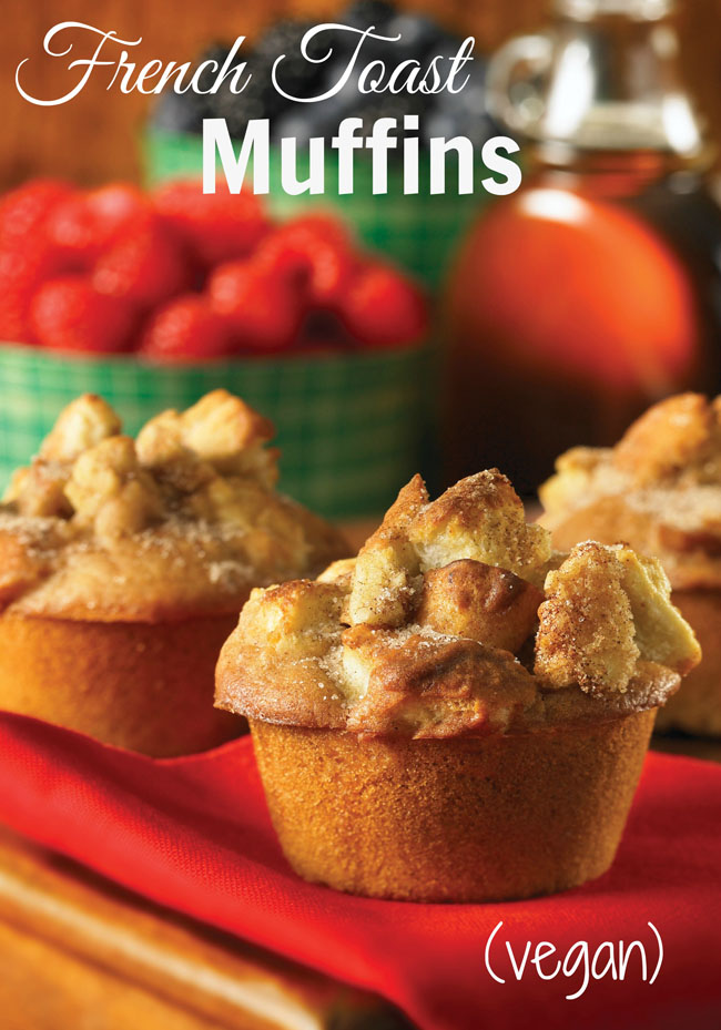 Vegan French Toast Muffins - a warm, amazing, delicious treat - hello, it's a muffin AND it's French toast! It's French toast reinvented in muffin form! There are bread chunks on top of these here muffins. And maple syrup, cinnamon and sugar! I'll bet you're drooling right now just thinking about it.
