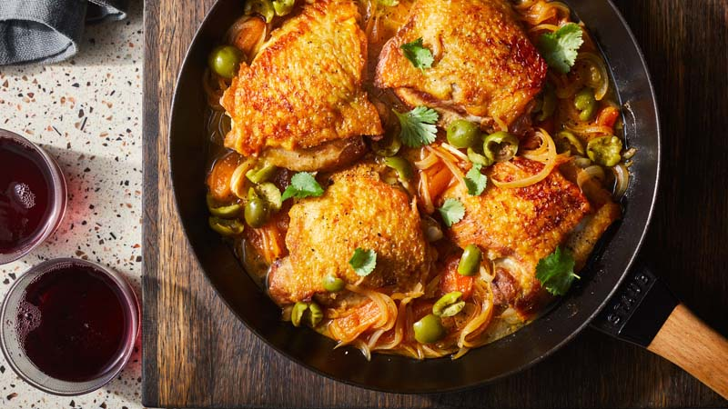 Braised Chicken Thighs with Apricots and Green Olives