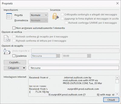 Vedere intestazioni messaggio Outlook 365