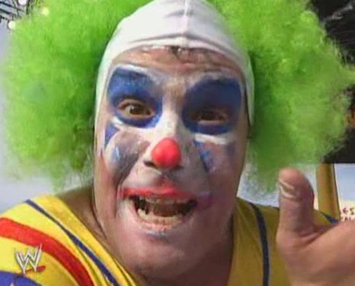 WWE / WWF WRESTLEMANIA 9: Doink The Clown, unmasked after his match with Crush