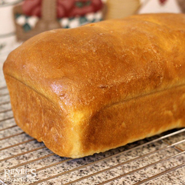 Brown and crusty soft white bread recipe cooling on rack