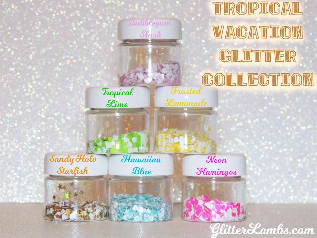 Tropical Vacation Glitter Collection-Loose Glitter-Nail Art Glitter-Craft Glitter-Bubblegum Slush-Tropical Lime-Frosted Lemonade-Sandy Holo Starfish-Hawaiian Blue-Neon Flamingos by Glitter Lambs