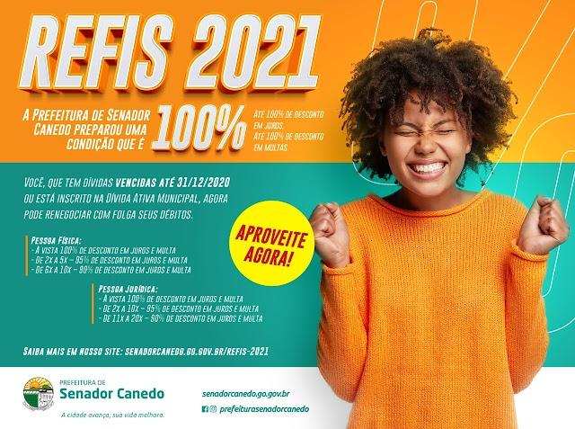 Refis 2021 da Prefeitura de Senador Canedo prevê descontos de até 100%, confira