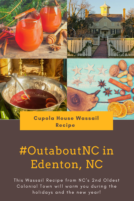 An Image of wassail in silver punch bowl and historic cupola house in Edenton, NC