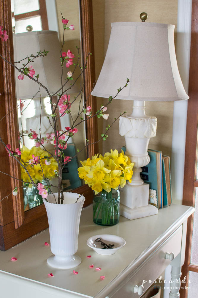 quince branches and daffodils in a spring entry