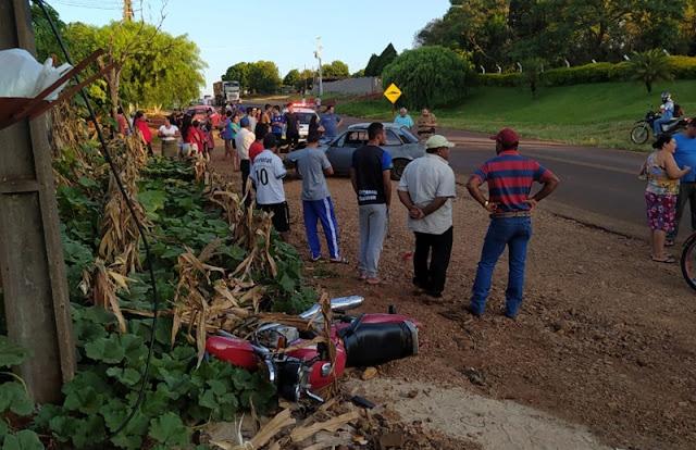 Roncador: Moto e carro se envolvem em acidente no prolongamento da Avenida São Pedro