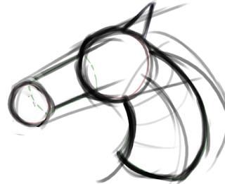 Boceto a lápiz de caballo