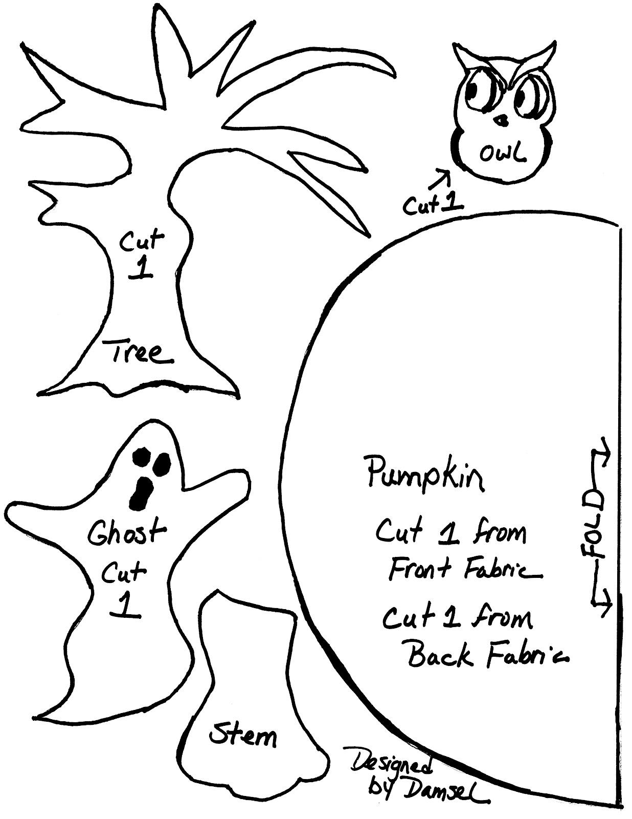 Damsel Quilts & Crafts: Ghostly Pumpkin Mug Rug!