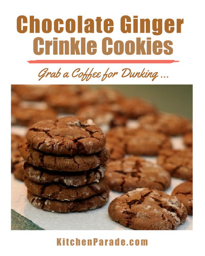 Chocolate Ginger Crinkle Cookies ♥ KitchenParade.com, half spice cookie, half chocolate chip cookies, 100 percent surprising. Perfect for dunking.