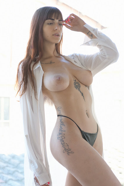 artistic nude model topless big tits pose