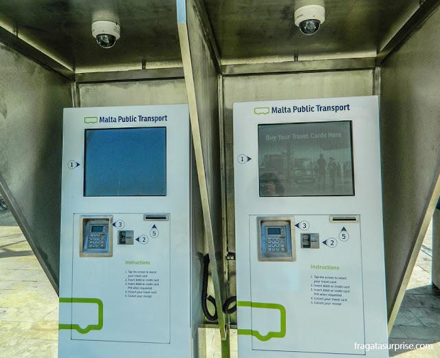 Máquinas para venda automática de passagens do transporte público em Malta