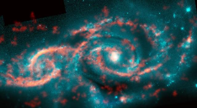 Thiên hà IC 2163 (trái) đang trong quá trình hợp nhất làm một với thiên hà NGC 2207. Hình ảnh: M. Kaufman; B. Saxton (NRAO/AUI/NSF); ALMA (ESO/NAOJ/NRAO); NASA/ESA Hubble Space Telescope.
