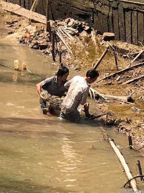 bắt cá sấu hoang ở bờ kênh