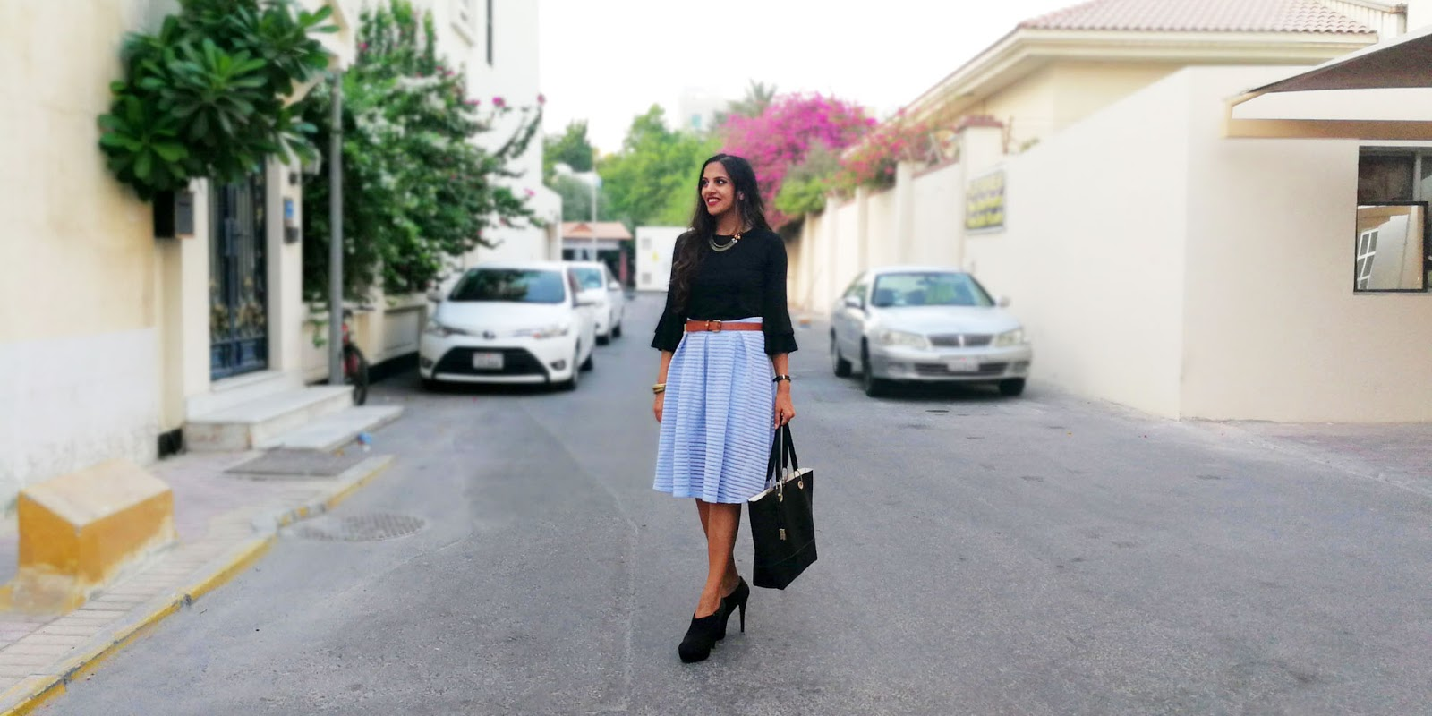 Black Double Ruffles, Self-Striped Skirt + My Paradox of Relaxing