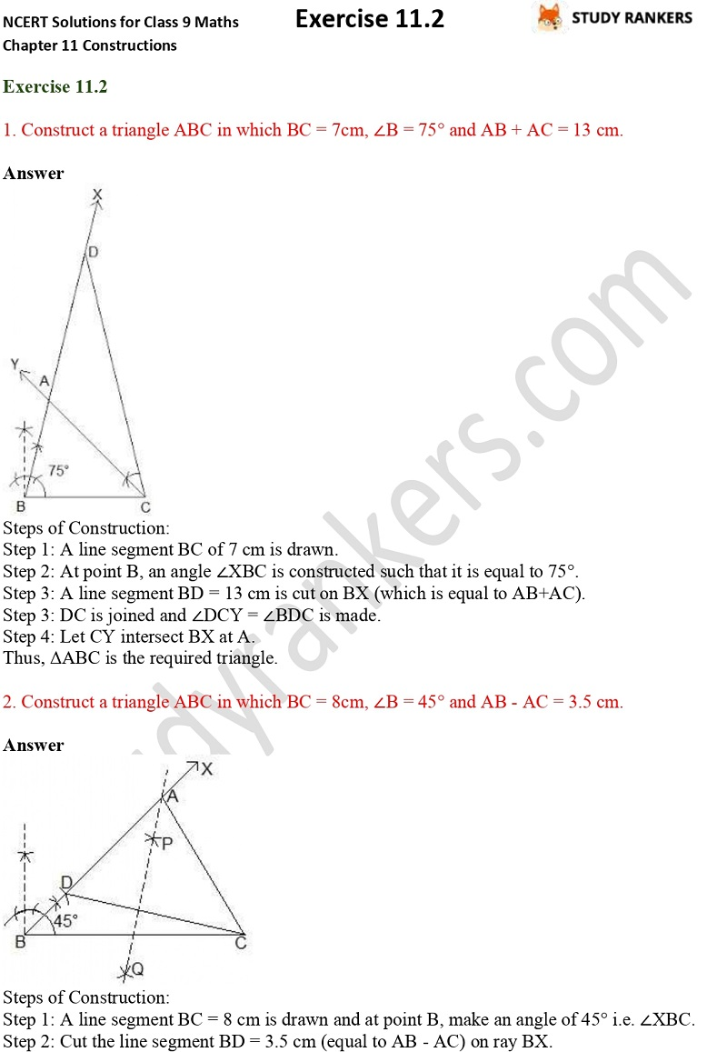 NCERT Solutions for Class 9 Maths Chapter 11 Constructions Exercise 11.2 Part 1