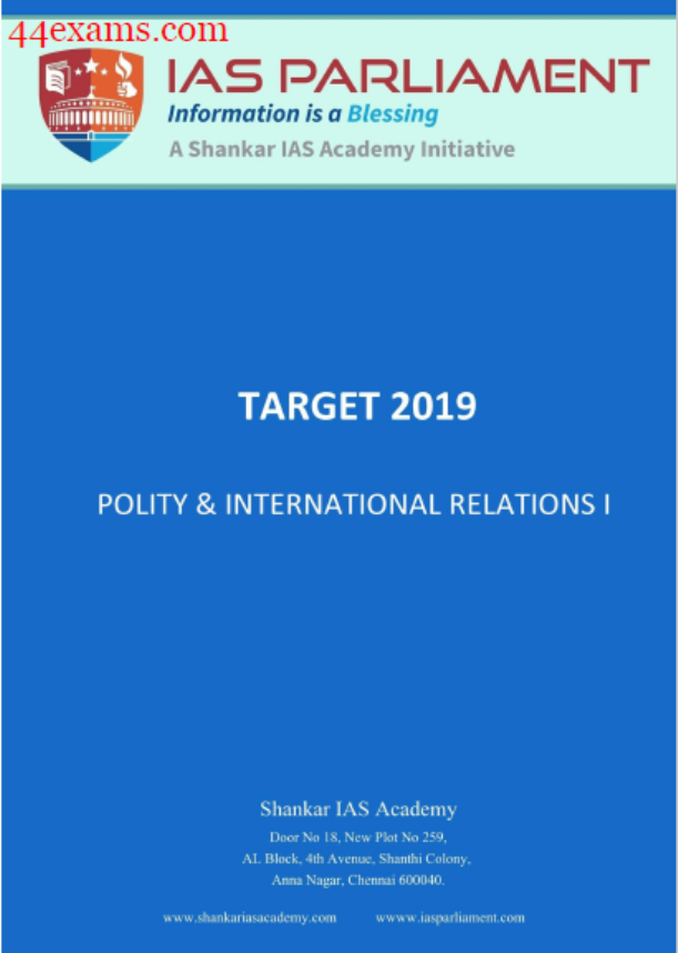 Polity and International Relations by Shankar IAS Academy : For UPSC Exam PDF Book