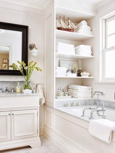 fabulous shelf on bathroom counter | Fabulous Bathroom with Shelving | Content in a Cottage