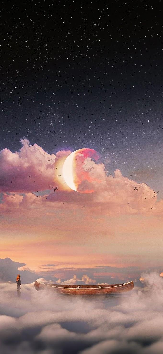Lua Canoa Nuvem Wallpaper Celular
