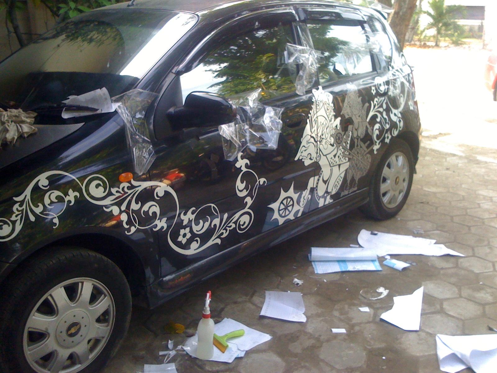 BROWNN EXOTIC cutting sticker mobil gambar wayang dan flames