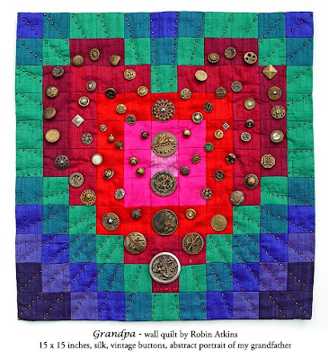 Robin Atkins, beaded quilt, Grandpa