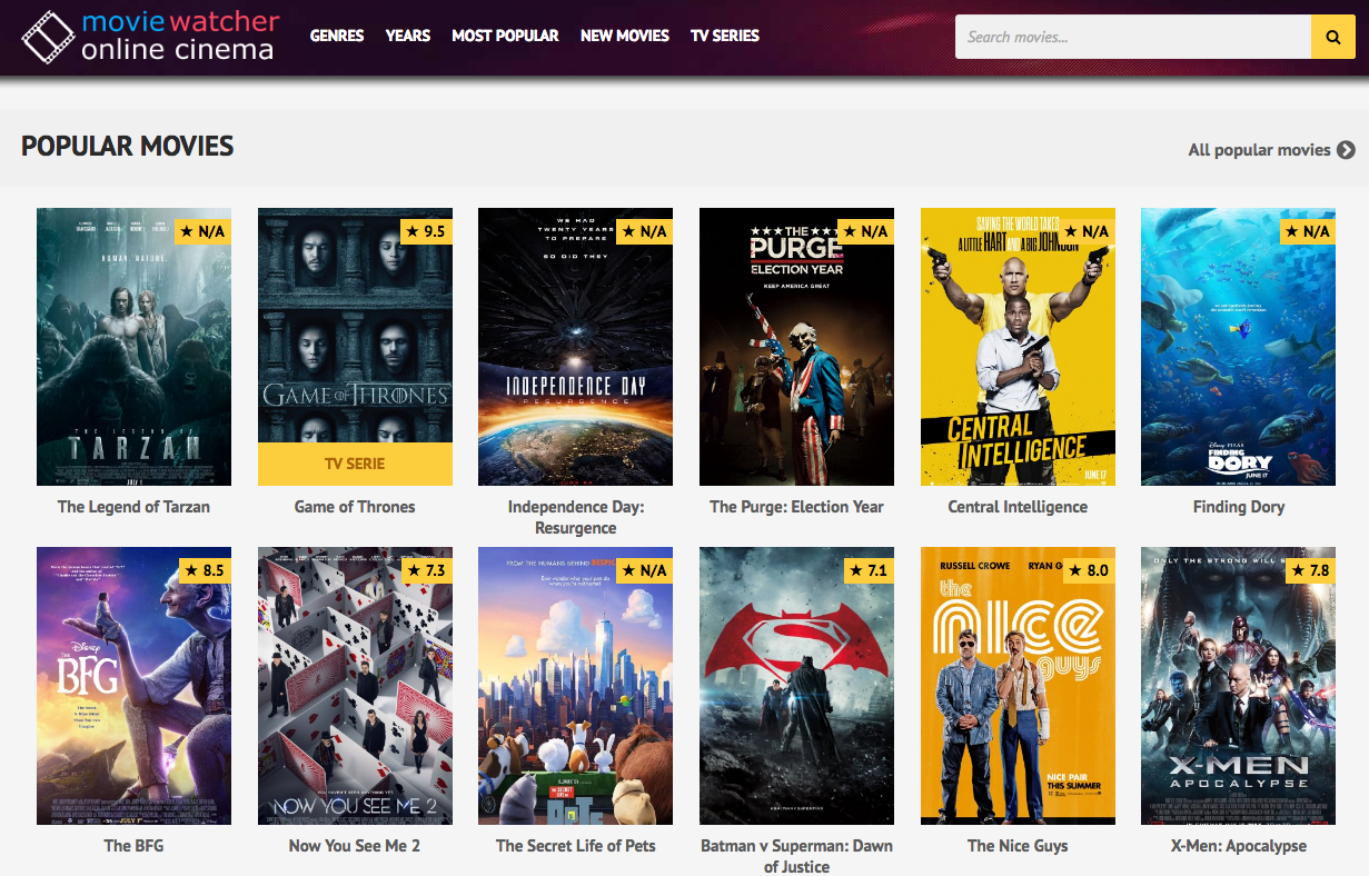 top 10 websites to watch movies online for 2016 movie watcher is an amazing website to watch movies online hassle and in great video quality like 720p or 1080p it provides you a list of hosts