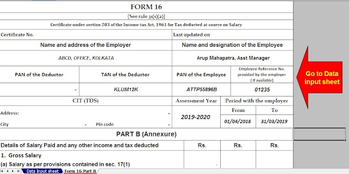 Download and Prepare at a time 50 Employees  Automated Income Tax Form 16 Part A&B For Financial Year 2019-20 & Ass Year 2020-21( Modified Format of Form 16 Part B [ As per the CBDT Notification No.36/2019 Dated 12/04/2019