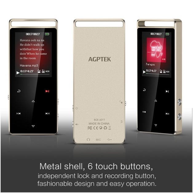 Mp3 player desain elegan AGPTEK A01T 8GB Bluetooth