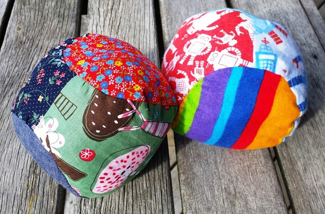Learn how to make soft, stuffed fabric balls. Tutorial and pattern by Nina Makes.