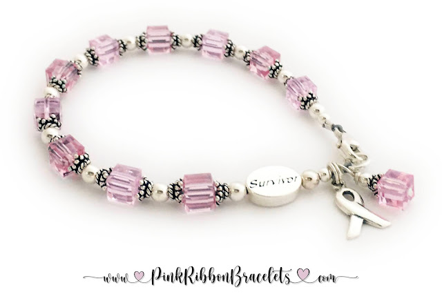 Pink Ribbon Bracelet with a Survivor Bead and Ribbon Charm