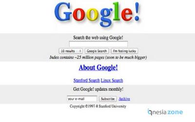 Tampilan Halaman Utama Mesin Pencari Google Pertama Kali