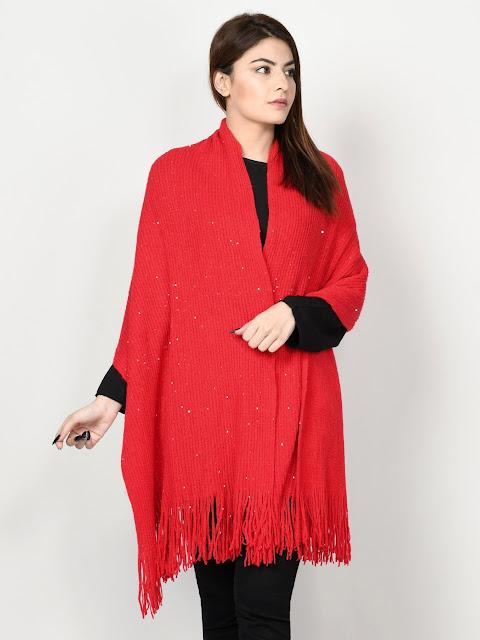 Limelight winter wear women Red Shawl