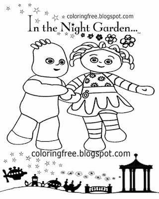 Upsy Daisy and Igglepiggle in the night garden colouring pictures basic creative things to draw out