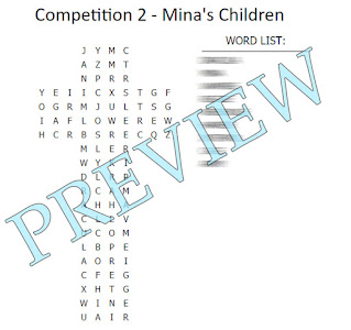Cross shaped word search with a blurred out word list.