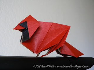 Standing Cardinal designed by Roman Diaz, photo and origami ©2018 Tina M. Welter
