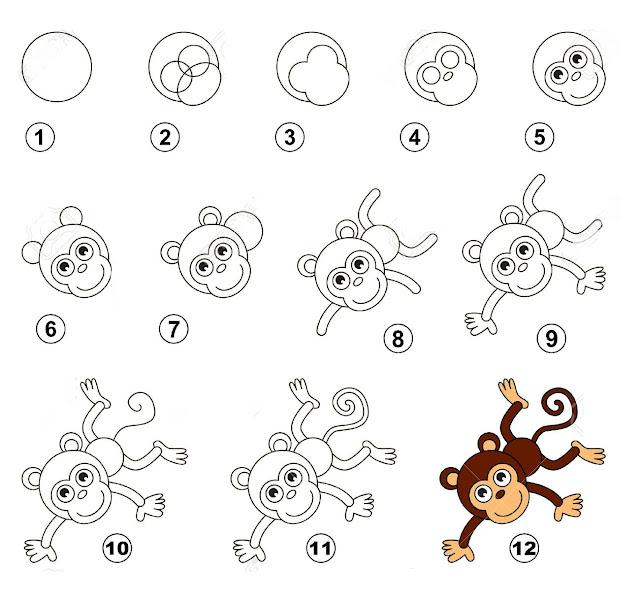 رسم قرد للاطفال