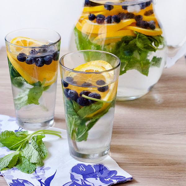 Orange, Mint, and Blueberry Infused Water
