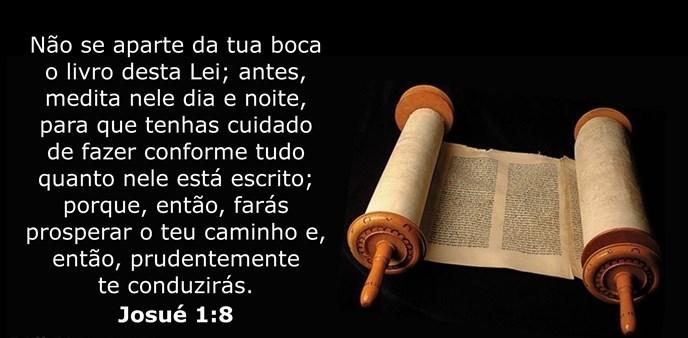 Não se aparte da tua boca o livro desta Lei; antes, medita nele dia e noite, para que tenhas cuidado de fazer conforme tudo quanto nele está escrito; porque, então, farás prosperar o teu caminho e, então, prudentemente te conduzirás.