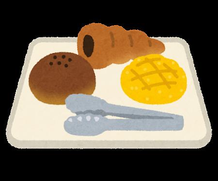 トレイに乗ったパンとトングのイラスト