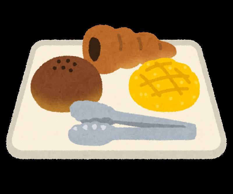 トレイに乗ったパンとトングのイラスト かわいいフリー素材集 いらすとや