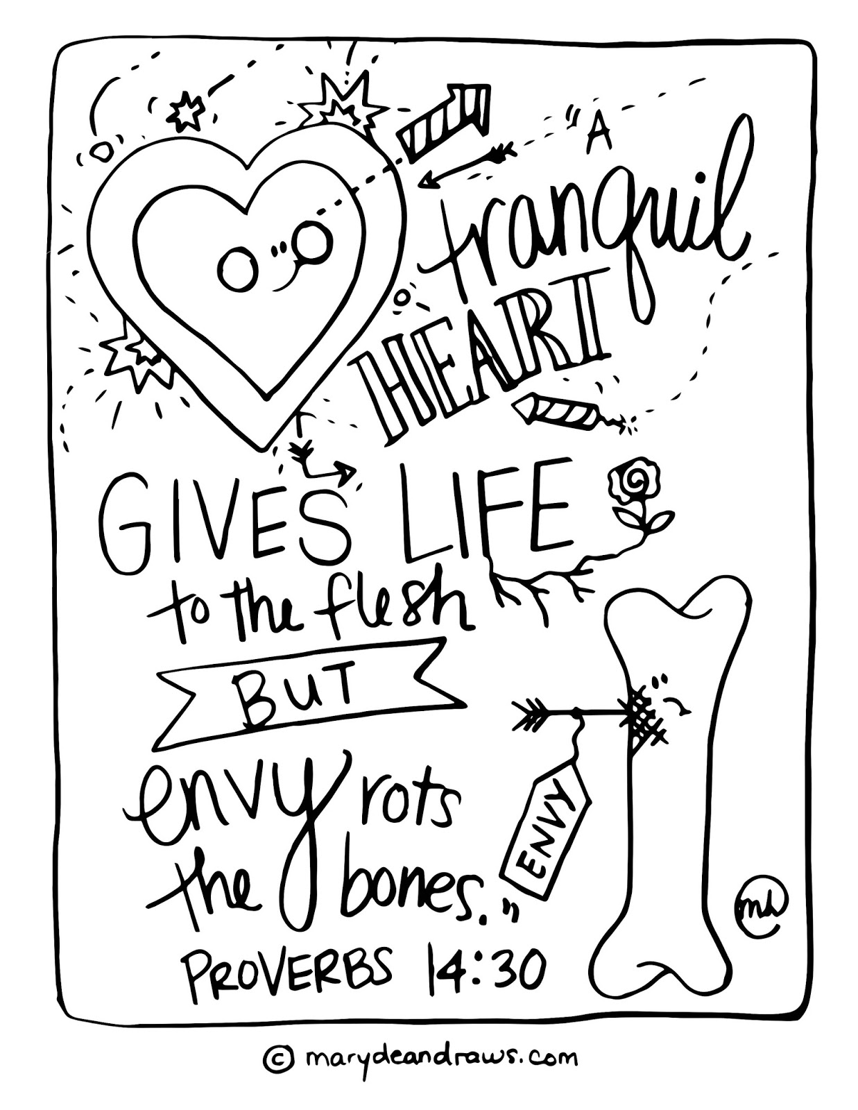 bible verse coloring pages - a tranquil heart and rotten bones proverbs 14 30